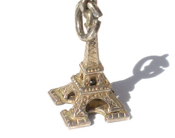 Eiffel Tower Charm Sterling Silver Vintage Jewelry Supply Gift for Charm Bracelets French Paris France Souvenir