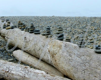 Stacked Beach Stones on Drift Wood, Photography Print or Blank Greeting Card, Rustic, Nautical Photography, Pacific Ocean, Gift Idea