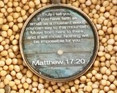 Matthew 17:20 Keychain - Antique Copper with Painted Wood Background