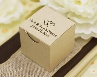 "100 Personalized Favor Boxes, Wedding Favor Boxes, Bulk  Wedding Favor Boxes,  Candy Favor Boxes, Favor Box Size:  2"" x 2"" x 2"""