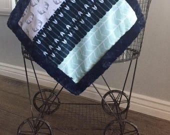Baby blanket, Lovey, Lovey blanket, 18 x 18  Minky blanket, arrow lovey