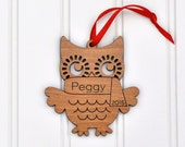 Christmas Ornament Wood Owl Ornament Personalized Name 2016, Woodland Animal
