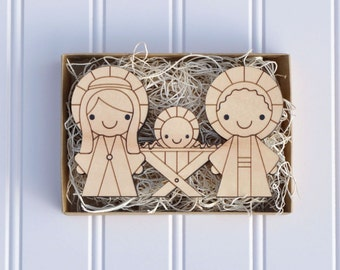 Wooden Nativity: Simple Christmas Kids Nativity Scene, Baby's First Christmas, One Piece Wood Block, Mary, Joseph, Baby Jesus