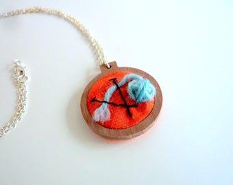 Mini embroidery hoop necklace, blue yarn mini skein, knitting needles