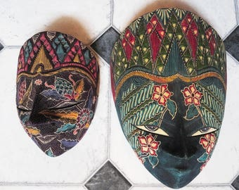 TWO Vintage Indonesian, Bali Batik Wooden Masks, Tribal Hand Made Decorative Wall Hanging