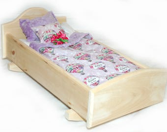Rock Her to Sleep!  Single Doll Bed - Dreaming American Made Girl Doll Bed - Fits AG Doll and 18 inch doll BittyBaby 18' Doll Furniture
