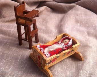 Vintage Dollhouse Furniture - Miniature Wooden Cradle and Highchair