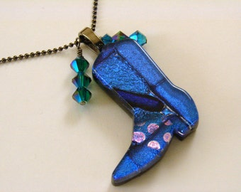 Dichroic Glass Cowboy Boot Pendant with Crystals