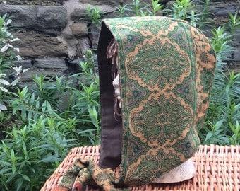 Green & Yellow Paisley Hood, Snood, Scoodie