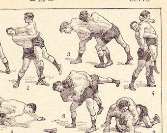 Antique French Print  1920s Engraved illustrated Book Page Wrestling