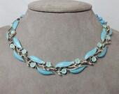 LISNER Blue Enamel & Flower Choker Necklace