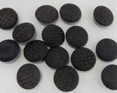 15 Victorian Black Silk Thread Fabric Buttons