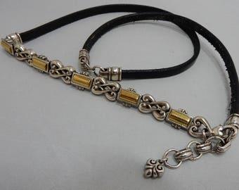 BRIGHTON Silver & Gold Black Leather Skinny Belt Small  OAN38