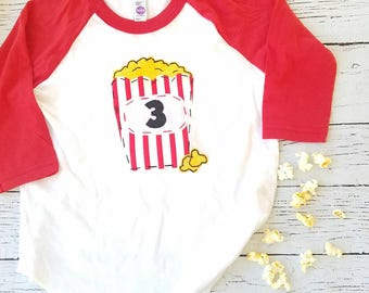 Popcorn shirt, circus party shirt, movie party tee, 3 three birthday shirt