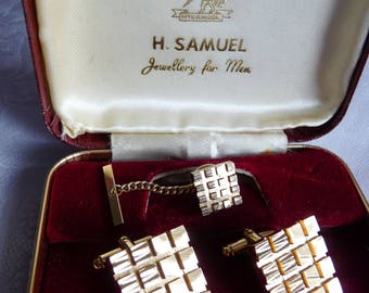 Mid Century English Gold Plated Cuff Links and Tie Pin in Original Box H Samuel England