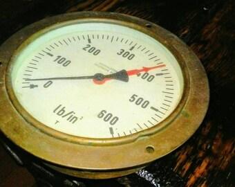 Ship Submarine Gauge - howaldtswerke-deutsche werft German Brass pressure Ship gauge vintage antique