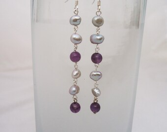 Amethyst and Pearls Long Earrings, Pearls and Amethyst Drop Earrings, Gemstone Long Earrings, Purple and Grey Earrings, Gemstone Earrings