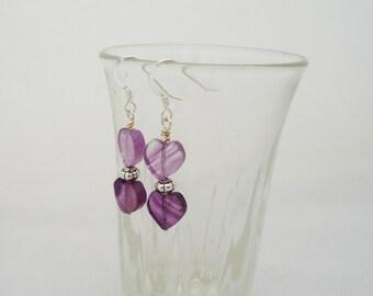 Fluorite Earrings, Fluorite Heart Earrings, Gemstone Heart Earrings, Purple Gemstone Earrings, Dangle Heart Earrings