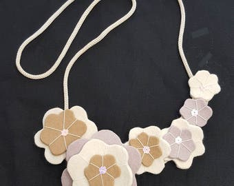 Ivory taupe brown wool felt necklace - matches ivory button beret