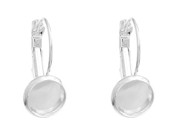 10 pcs. Silver Plated Earring Clips Settings Lever Back Bezels Cabochons - 8mm Glue Pad Setting