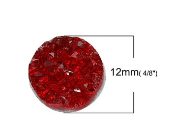 50 pcs Druzy Resin Embellishment Cabochons Wine Passion Dark Red AB - 12mm (1/2 in)