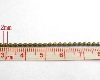 8M (26.2 Ft) - Antique Bronze Ball Chain - 2mm Ball