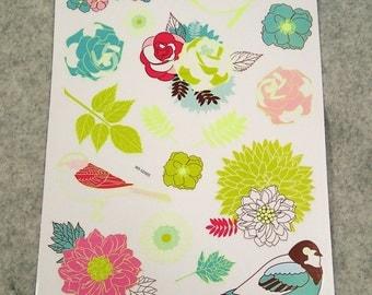 Cute Elegant Flower Birdy Stickers