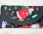 Christmas Santa Clause Fabric Gift Card Pouch coin Purse accessory 6 x 3 Stocking Stuffer Clutch envelope, Wallet money clip Children