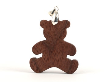 Teddy Bear Pendant Necklace Wood Country Jewelry Hand Cut Scroll Saw Walnut