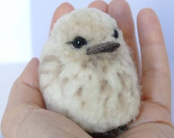 Baby bird:  fibre art - needle felted, crochet, pom pom.  Cute collectible.