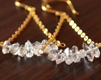 Herkimer Diamond Earrings, Gold Filled, Clear Quartz Gemstone Nugget, Trapeze Style, April Birthstone, Vermeil Jewelry, Free Shipping