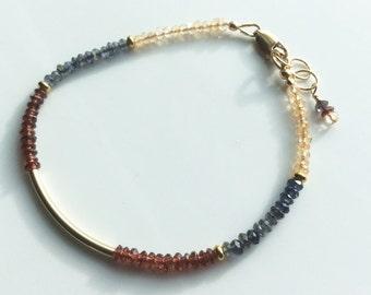 Tiny Multi-Gemstone 14kt Gold Filled Bracelet, Vermeil Gold, Citrine,  Iolite , Garnet