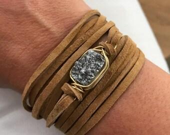 Rectangle Silver Druzy Leather Wrap Bracelet