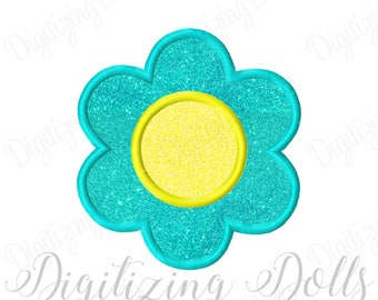 Flower Applique 5 Machine Embroidery Design 2.5x2.5 3x3 4x4 5x5 6x6 Daisy Spring INSTANT DOWNLOAD