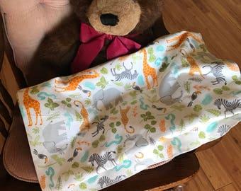 Baby Toddler Prancing Zebras  Zoo Animals Flannel Receiving Blanket