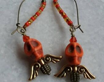Orange Sugar Skull Angel Earrings on Beaded Brass Kidney Earwires // Tangerine Day of The Dead Earrings // Halloween Earrings