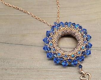 Golden Sun Pendant- Sapphire/Copper