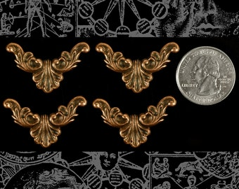 Four Copper Corner Filigree Pieces  * C-W42