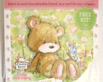 new Hello Cookie Bear cross stitch card kit from The World of Cross Stitching Magazine