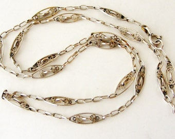 Antique French silver plated filigree chain 20 inch
