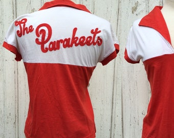 "70s bowling tee, chainstich ""The Parakeets"" S M"
