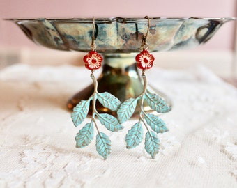 Boho chic patina leaf / branch dangle earrings with poppy red flower bead, Springtime in the Forest of Arden
