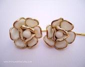 Vintage earrings hair slides - Trifari smooth milk glass rose gold edge simple minimalist jeweled embellish decorative hair accessories