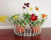 Vintage Wire Planter, Pot Holder, White, Vintage, French Country, Shabby Chic, Cottage Chic