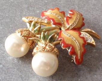 Joan Rivers Acorn Pineapple Pearls Enamels Rhinestones Vintage 021017RC