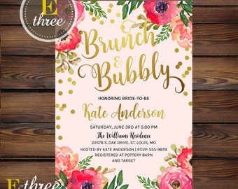 Brunch and Bubbly Bridal Shower Invitation - Pink, Gold, Blush - Gold Foil Confetti - Flowers and Champagne - Brunch Wedding Shower
