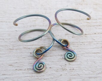 Pastel Rainbow Titanium Earrings / Anodized Titanium Hoops for 2 Piercings / Double Piercing Hoops for 2 Holes / Double Hoops / 105314