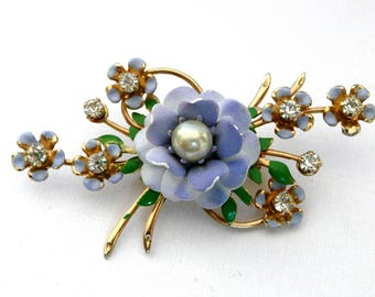 Vintage Blue Flower and Rhinestone Brooch