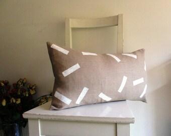 Lumbar Cushion Cover 21 x 12  White Rectangles on Linen