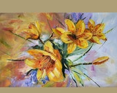 50% off ORIGINAL Oil Painting Golden Lilies 23 x 36 Colorful Flowers Lilies Gold Yellow Summer Palette Knife Textured Bright ART by Marchell